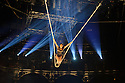 """London, UK. 14.04.2015. Circolombia presents """"Acelere"""" at the Roundhouse. Picture shows: Julia Sanchez Aja on the Cloud Swing. Photograph © Jane Hobson."""