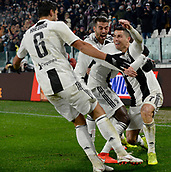 2nd February 2019, Allianz Stadium, Turin, Italy; Serie A football, Juventus versus Parma; Cristiano Ronaldo of Juventus celebrates after scoring the goal for 1-0 for Juventus in the 36th minute with Balise Matuidi and Khedira