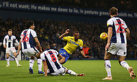 Leeds United's Lewis Baker is tackled by West Bromwich Albion's Jake Livermore<br /> <br /> Photographer David Shipman/CameraSport<br /> <br /> The EFL Sky Bet Championship - West Bromwich Albion v Leeds United - Saturday 10th November 2018 - The Hawthorns - West Bromwich<br /> <br /> World Copyright © 2018 CameraSport. All rights reserved. 43 Linden Ave. Countesthorpe. Leicester. England. LE8 5PG - Tel: +44 (0) 116 277 4147 - admin@camerasport.com - www.camerasport.com
