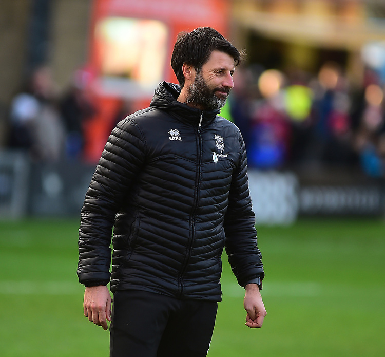Lincoln City manager Danny Cowley during the pre-match warm-up<br /> <br /> Photographer Andrew Vaughan/CameraSport<br /> <br /> The EFL Sky Bet League Two - Lincoln City v Newport County - Saturday 22nd December 201 - Sincil Bank - Lincoln<br /> <br /> World Copyright © 2018 CameraSport. All rights reserved. 43 Linden Ave. Countesthorpe. Leicester. England. LE8 5PG - Tel: +44 (0) 116 277 4147 - admin@camerasport.com - www.camerasport.com