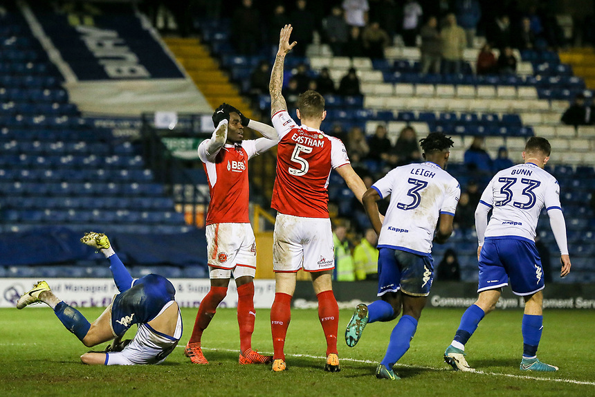 Fleetwood Town's Devante Cole rues a near miss<br /> <br /> Photographer Andrew Kearns/CameraSport<br /> <br /> The EFL Sky Bet League One - Bury v Fleetwood Town - Saturday 30th December 2017 - Gigg Lane - Bury<br /> <br /> World Copyright &copy; 2017 CameraSport. All rights reserved. 43 Linden Ave. Countesthorpe. Leicester. England. LE8 5PG - Tel: +44 (0) 116 277 4147 - admin@camerasport.com - www.camerasport.com