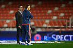 Gary Neville (L) head coach of Valencia CF and his brother Phil Neville assistant manager talks on the pitch prior to the game - UEFA Champions League Group H - Valencia CF vs Olympique Lyonnais - Mestalla Stadium - Valencia- Spain - 09th December 2015 - Pic David Aliaga/Sportimage