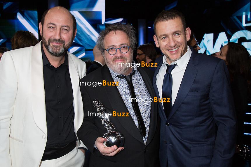 Kad Merad, Jaco Van Dormael  &amp; Dany Boon - Sixi&egrave;me c&eacute;r&eacute;monie des Magritte du cin&eacute;ma, qui r&eacute;compensent le septi&egrave;me art belge, au Square, &agrave; Bruxelles.<br /> Belgique, Bruxelles, 6 f&eacute;vrier 2016.<br /> Sixth edition of the Magritte du Cinema awards in Brussels.<br /> Belgium, Brussels, 7 February 2016