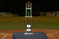 The Appalachian League Championship Trophy waits to be presented to the Johnson City Cardinals after their win over the Burlington Royals at Burlington Athletic Stadium on September 4, 2019 in Burlington, North Carolina. The Cardinals defeated the Royals 8-6 to win the 2019 Appalachian League Championship. (Brian Westerholt/Four Seam Images)