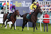 14th September 2017, Doncaster Racecourse, Doncaster, England; The William Hill St Ledger Festival, DFS Ladies Day; Andrea Atzeni on Laugh A Minute wins the Weatherbys Racing Bank £300,000