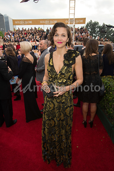 Maggie Gyllenhaal arrives at the 73rd Annual Golden Globe Awards at the Beverly Hilton in Beverly Hills, CA on Sunday, January 10, 2016. Photo Credit: HFPA/AdMedia