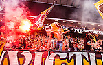 Solna 2014-08-13 Fotboll Allsvenskan AIK - Djurg&aring;rdens IF :  <br /> AIK:s supportrar med flaggor och bengaliska eldar<br /> (Foto: Kenta J&ouml;nsson) Nyckelord:  AIK Gnaget Friends Arena Allsvenskan Derby Djurg&aring;rden DIF supporter fans publik supporters bengler bengal r&ouml;k