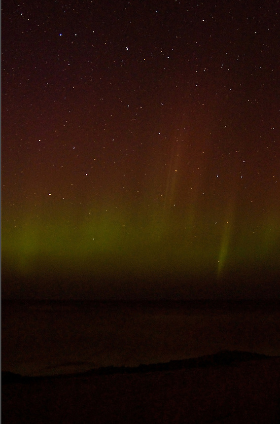 The Northern Lights visible over Lake Superior. Marquette, MI.