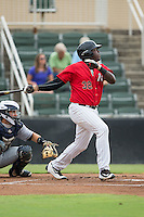 KJ Woods (32) of the Kannapolis Intimidators lines a double to left field in the bottom of the 1st inning against the Charleston RiverDogs at Kannapolis Intimidators Stadium on August 3, 2016 in Kannapolis, North Carolina.  The Intimidators defeated the RiverDogs 8-4.  (Brian Westerholt/Four Seam Images)