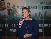 Rotterdam, Netherlands, Januari 12, 2017, ABNAMROWTT pressconference, Wheelchair tournament director Esther Vergeer anouncing the players field<br /> Photo: Tennisimages/Henk Koster