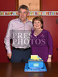 Francie McEvoy pictured with his wife Mary at his retirement party in Brú. Photo:Colin Bell/pressphotos.ie