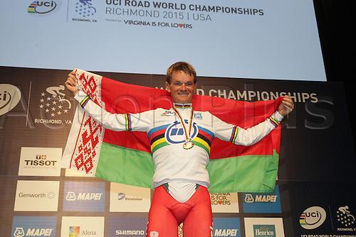 23.09.2015. Richmond, Virginia, USA. World Championship Cycling, Mens Elite time trials. Podium shot of  Basil Kiryienka of Bulgaria