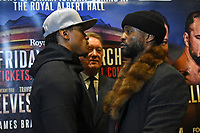Anthony Yarde (L), Frank Warren and Travis Reeves during a Press Conference at The Gore Hotel on 6th March 2019