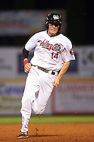 Tri-City ValleyCats third baseman Bobby Wernes (14) running the bases during a game against the Brooklyn Cyclones on September 1, 2015 at Joseph L. Bruno Stadium in Troy, New York.  Tri-City defeated Brooklyn 5-4.  (Mike Janes/Four Seam Images)