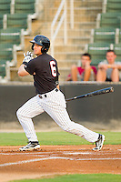 Adam Heisler (6) of the Kannapolis Intimidators follows through on his swing against the Lakewood BlueClaws at CMC-Northeast Stadium on August 14, 2013 in Kannapolis, North Carolina.  The Intimidators defeated the BlueClaws 10-2.  (Brian Westerholt/Four Seam Images)
