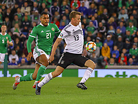 Lukas Klostermann (Deutschland Germany) gegen Josh Magennis (Nordirland, Northern Ireland) - 09.09.2019: Nordirland vs. Deutschland, Windsor Park Belfast, EM-Qualifikation DISCLAIMER: DFB regulations prohibit any use of photographs as image sequences and/or quasi-video.