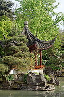 Chinese pagoda and pond in Sun Yat-Sen Park in Chinatown, Vancouver, BC, Canada