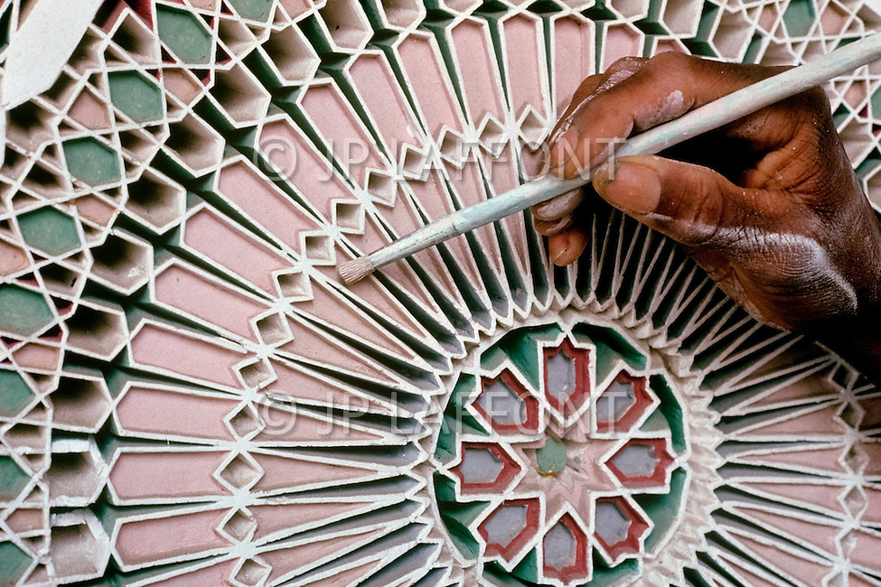 March 9, 1989, Casablanca, Morocco. Workshop of Mr Lamane, in charge of painted and carved wood, during the construction of Hassan II Mosque. The mosque was completed in 1993.