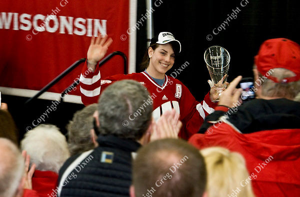 Badgers junior, Hilary Knight, is welcomed by the crowd at the event to celebrate the UW women's hockey team's NCAA championship at the Nicholas Johnson Pavilion on Monday, 3/21/11, in Madison, Wisconsin | Photos by Greg Dixon accompanied Andy Baggot article in the Wisconsin State Journal and madison.com at http://j.mp/h1sUOJ