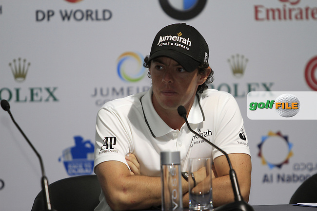 Rory McIlroy (NIR) in the interview room after Round 2 of the DP World Tour Championship, Jumeirah Golf Estates, Dubai, United Arab Emirates. 23/11/12...(Photo Jenny Matthews/www.golffile.ie)