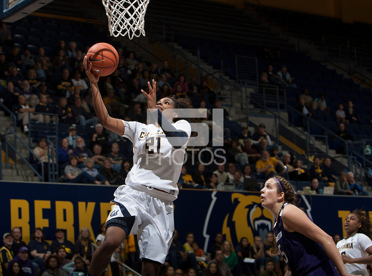 Reshanda Gray of California shoots the ball during the game against Northwestern at Haas Pavilion in Berkeley, California on November 24th, 2013.  California defeated Northwestern, 65-51.