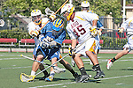 Orange, CA 05/01/10 - Leland McCluskey (ASU # 41), Ian Anderson (ASU # 45) crowd Jamie Bridgman (UCSB # 28), who loses his stick and possession during the UC Santa Barbara-Arizona State MCLA SLC semi-final game in Wilson Field at Chapman University.  Arizona State advanced to the final by defeating UC Santa Barbara 13-9.