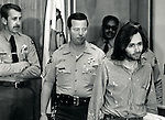 Charles Manson The Manson Family going escorted to court on Tate/LaBianca murders, Charlie Manson, conspiracy, Tate LaBianca, the manson family, California commune, American criminal, life imprisonment, Corcoran State Prison,