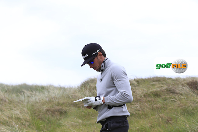 Rafa CABRERA-BELLO (ESP) walks off the 2nd tee during Saturday's Round 3 of the 2015 Dubai Duty Free Irish Open, Royal County Down Golf Club, Newcastle Co Down, Northern Ireland 5/30/2015<br /> Picture Eoin Clarke, www.golffile.ie