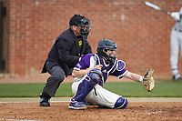 High Point Panthers catcher Brian Rall (20) sets a target as home plate umpire Tony Carilli looks on during the game against the Campbell Camels at Williard Stadium on March 16, 2019 in  Winston-Salem, North Carolina. The Camels defeated the Panthers 13-8. (Brian Westerholt/Four Seam Images)