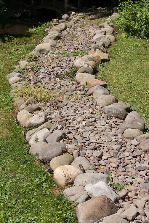 Stones & pebbles to create dry stream effect in garden pathway