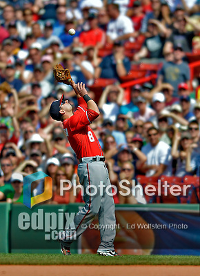 10 June 2012: Washington Nationals second baseman Danny Espinosa pulls in an Adrian Gonzalez pop-up during a game against the Boston Red Sox at Fenway Park in Boston, MA. The Nationals defeated the Red Sox 4-3 to sweep their 3-game interleague series. Mandatory Credit: Ed Wolfstein Photo