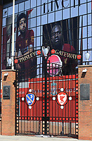 May 4th 2020, Liverpool, United Kingdom;  Anfield stadium during the suspension of the Premier League due to the Covid-19 virus pandemic;   the locked and deserted Paisley Gateway entrance to the Kop