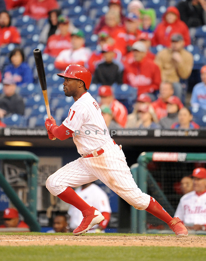 Philadelphia Phillies Jimmy Rollins (11) during a game against the Milwaukee Brewers on April 8, 2014 at Citizens Bank Park in Philadelphia, PA. The Brewers beat the Phillies 10-4.