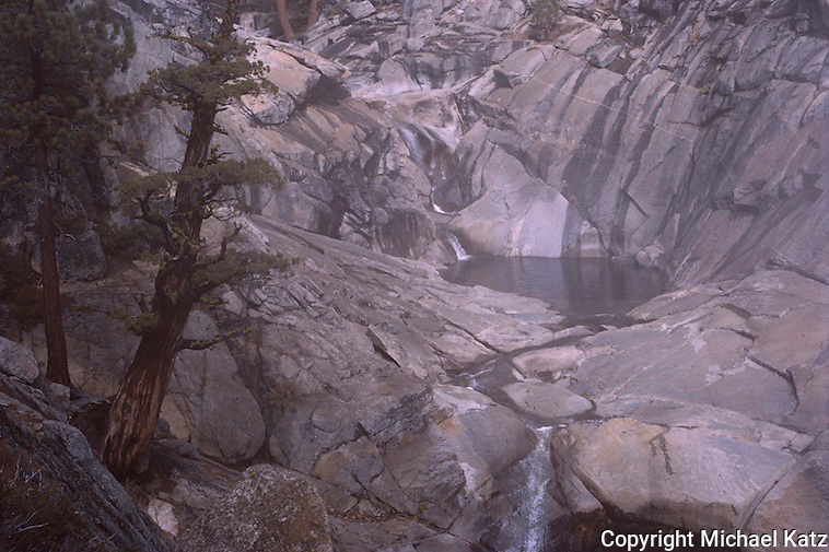 Pools at the top of the Yosemite Falls trail after a rain.