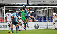 Will De Havilland of Wycombe Wanderers goes close to beating Goalkeeper Mark Smith of Aldershot Town in the dying moments during the pre season friendly match between Aldershot Town and Wycombe Wanderers at the EBB Stadium, Aldershot, England on 22 July 2017. Photo by Andy Rowland.