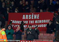 Arsenal fans with a protest banner after their 1-5 defeat by Bayern Munich in the UEFA Champions League round of 16 match between Arsenal and Bayern Munich at the Emirates Stadium, London, England on 7 March 2017. Photo by Alan  Stanford / PRiME Media Images.