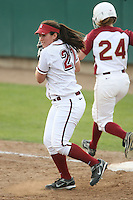 7 March 2008: Stanford Cardinal Erikka Moreno during Stanford's 9-1 win against the Charleston Cougars in the Stanford Classic at the Boyd and Jill Smith Family Stadium in Stanford, CA.
