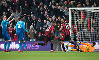 Jordon Ibe of AFC Bournemouth celebrates his winning goal with Callum Wilson of AFC Bournemouth during the Premier League match between Bournemouth and Arsenal at the Goldsands Stadium, Bournemouth, England on 14 January 2018. Photo by Andy Rowland.
