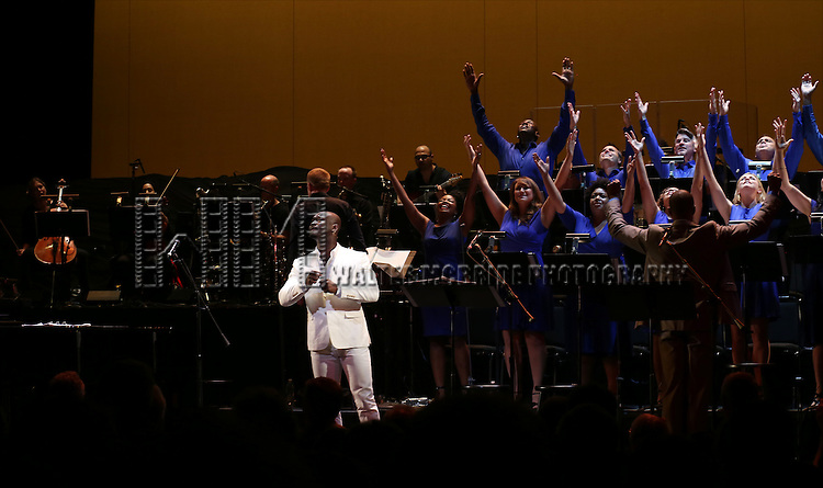 Isaiah Johnson and Ensemble cast during the Curtain Call for the New York City Center Encores! Off-Center production of 'Randy Newman's FAUST' - The Concert at City Center on July 1, 2014 in New York City.