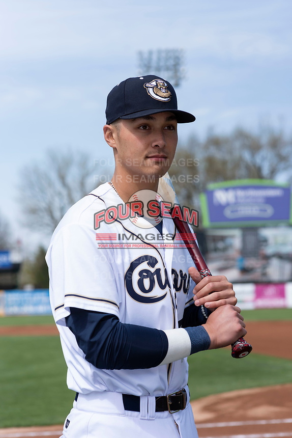 Kane County Cougars catcher Andy Yerzy (38) poses for a photo before a Midwest League game against the Cedar Rapids Kernels at Northwestern Medicine Field on April 28, 2019 in Geneva, Illinois. (Zachary Lucy/Four Seam Images)