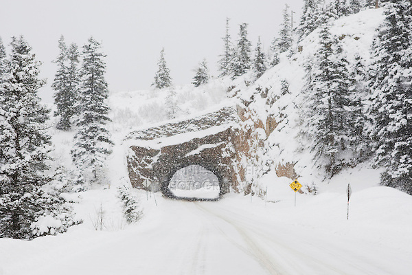 Road and Tunnel in winter, Ouray, Rocky Mountains, Colorado, USA