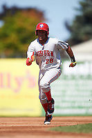 Auburn Doubledays right fielder Juan Soto (26) running the bases during a game against the Batavia Muckdogs on September 5, 2016 at Dwyer Stadium in Batavia, New York.  Batavia defeated Auburn 4-3. (Mike Janes/Four Seam Images)