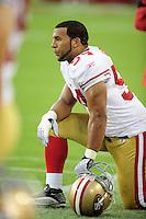 Sept. 13, 2009; Glendale, AZ, USA; San Francisco 49ers linebacker Marques Harris against the Arizona Cardinals at University of Phoenix Stadium. San Francisco defeated Arizona 20-16. Mandatory Credit: Mark J. Rebilas-