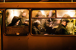 February 20, 2015. Kiev, Ukraine. Atmosphere in ukrainian capital city. Commuters in a Marshrutka, local public transportation busses. Credits: Niels Ackermann / Rezo.ch