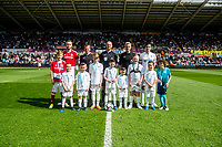 Sunday April 02 2017 <br /> Pictured: Captains and Mascots <br /> Re: Premier League match between Swansea City and Middlesbrough at The Liberty Stadium, Swansea, Wales, UK. SUnday 02 April 2017