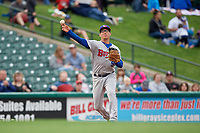 Buffalo Bisons Andy Burns (9) throws to first base during an International League game against the Rochester Red Wings on May 31, 2019 at Frontier Field in Rochester, New York.  Rochester defeated Buffalo 5-4 in ten innings.  (Mike Janes/Four Seam Images)