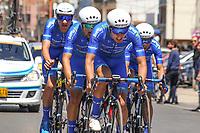 TUNJA - COLOMBIA, 11-02-2020: Equipo SUPER GIROS (COL) durante la primera etapa del Tour Colombia 2.1 2020 con un recorrido de 16,7 km CRE, que se corrió con salida y llegada enTunja, Boyacá. / Team SUPER GIROS (COL)  during the first stage of 16,7 km TTT of Tour Colombia 2.1 2020 that ran with start and arrival in Tunja, Boyaca.  Photo: VizzorImage / Darlin Bejarano / Cont