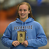 Catherine Stanford of Oceanside poses for pictures after winning the 100-yard freestyle event in the Nassau County girls swimming championships and state qualifier meet at Nassau Aquatic Center in East Meadow on Saturday, Nov. 3, 2018. She posted a time of 50.96.