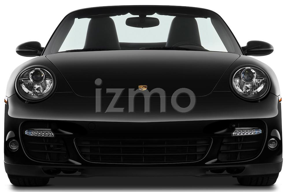 Straight front view of a 2009 Porsche Carrera Turbo