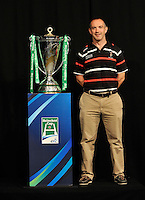 London, England. Harlequins Director of Rugby Coner O'Shea poses with the Heineken Cup during the UK Heineken Cup and Amlin Challenge Cup season launch at SKY Studios on October 1, 2012 in London, England.